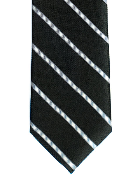 Silk Tie In Black With Grey Regimental Stripes - Rainwater's Men's Clothing and Tuxedo Rental