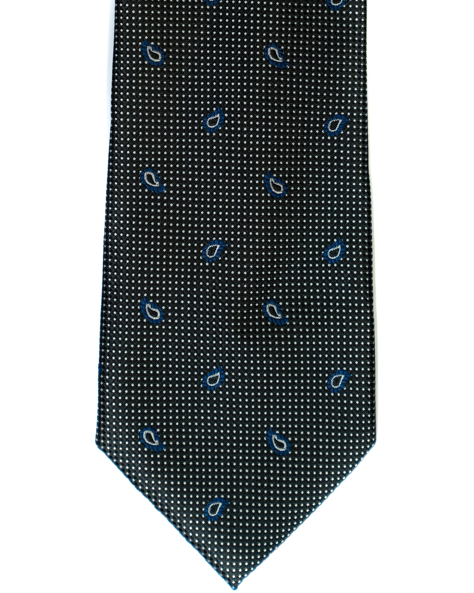 Gianfranco Foulard Tie in Black with Grey - Rainwater's Men's Clothing and Tuxedo Rental