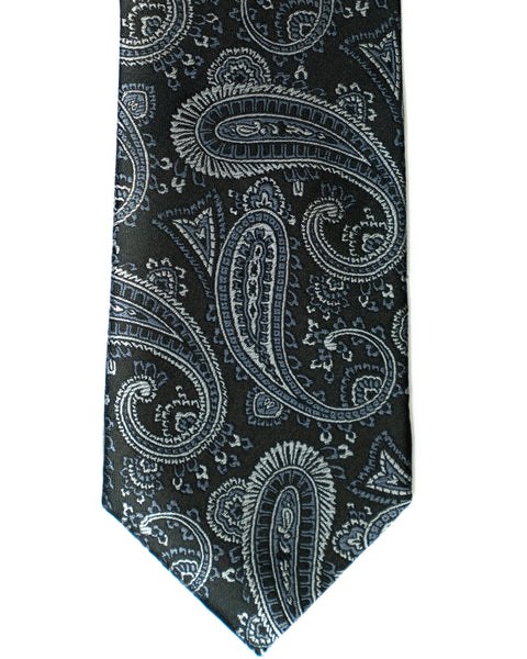 Paisley Silk Tie in Black With Grey - Rainwater's Men's Clothing and Tuxedo Rental