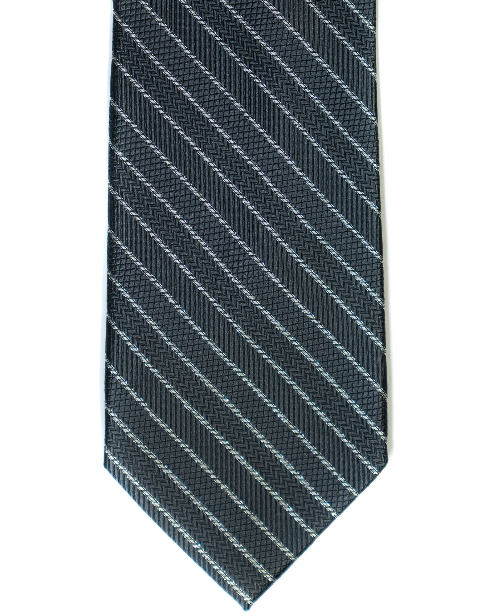 Silk Tie In Grey With Silver Stripes - Rainwater's Men's Clothing and Tuxedo Rental