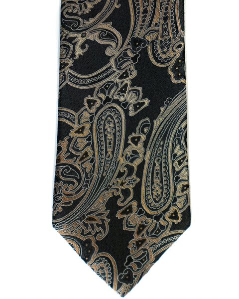 Paisley Silk Tie in Black With Tan - Rainwater's Men's Clothing and Tuxedo Rental