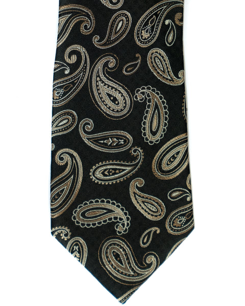 Paisley Silk Tie in Black and Tan - Rainwater's Men's Clothing and Tuxedo Rental