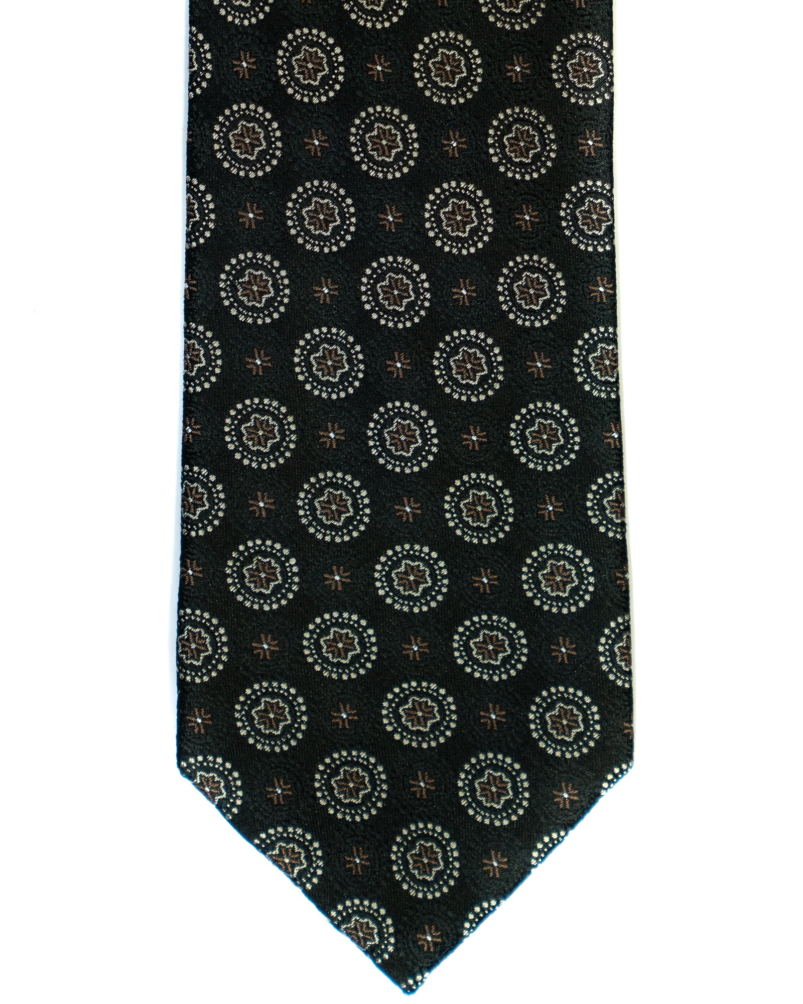 Silk Tie In Black With Brown Foulard Print - Rainwater's Men's Clothing and Tuxedo Rental