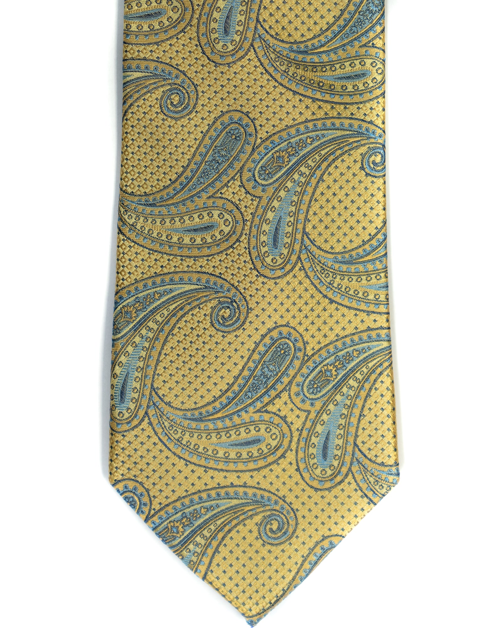 Paisley Silk Tie in Yellow With Light Blue - Rainwater's Men's Clothing and Tuxedo Rental