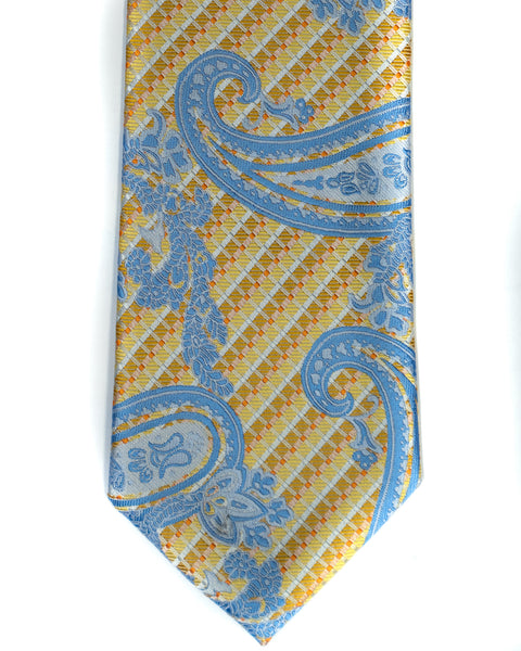 Venturi Uomo Paisley Tie in Yellow with Blue - Rainwater's Men's Clothing and Tuxedo Rental