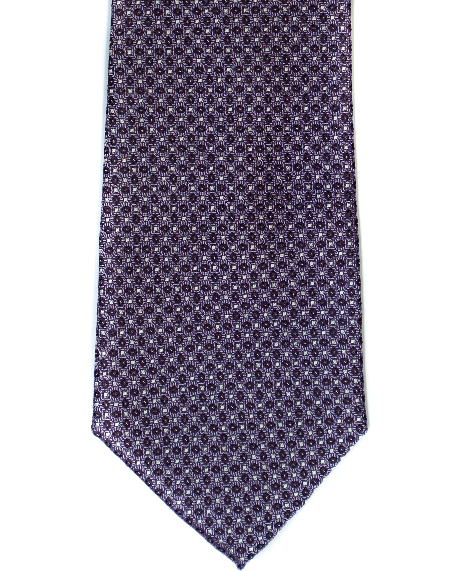 Silk Tie In Lavender Neat Foulard Print - Rainwater's Men's Clothing and Tuxedo Rental