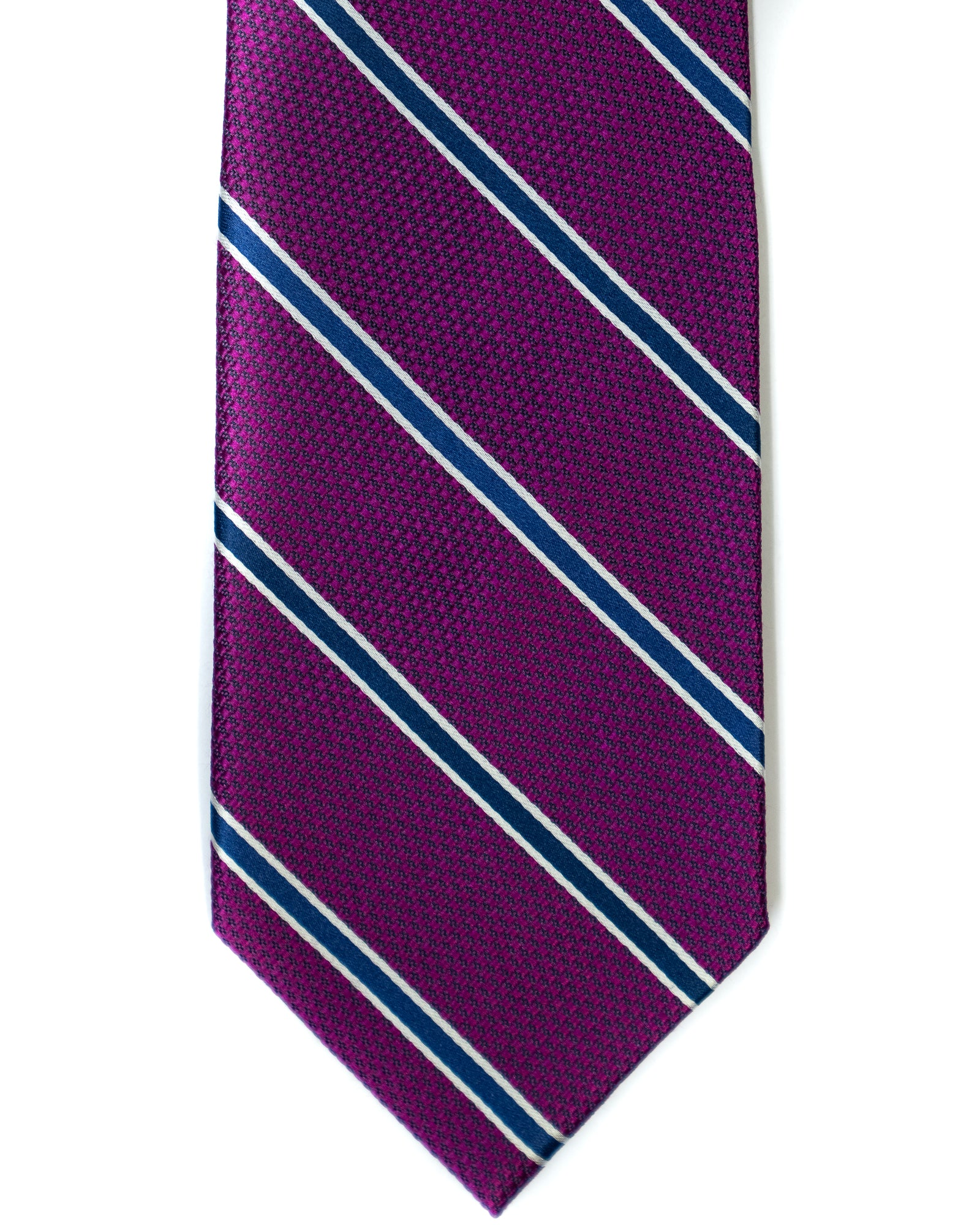 Silk Tie In Purple With Navy Stripes - Rainwater's Men's Clothing and Tuxedo Rental