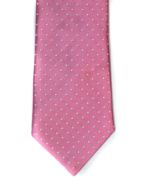 Silk Tie In Pink Dot Print - Rainwater's Men's Clothing and Tuxedo Rental