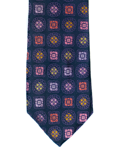 Silk Tie In Navy With Purple Foulard Print - Rainwater's