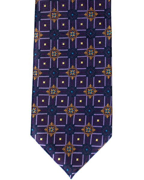Silk Tie In Purple With Gold Foulard Print - Rainwater's