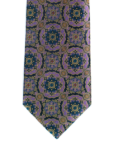 Silk Tie In Navy With Lavender Medallion Foulard Print - Rainwater's