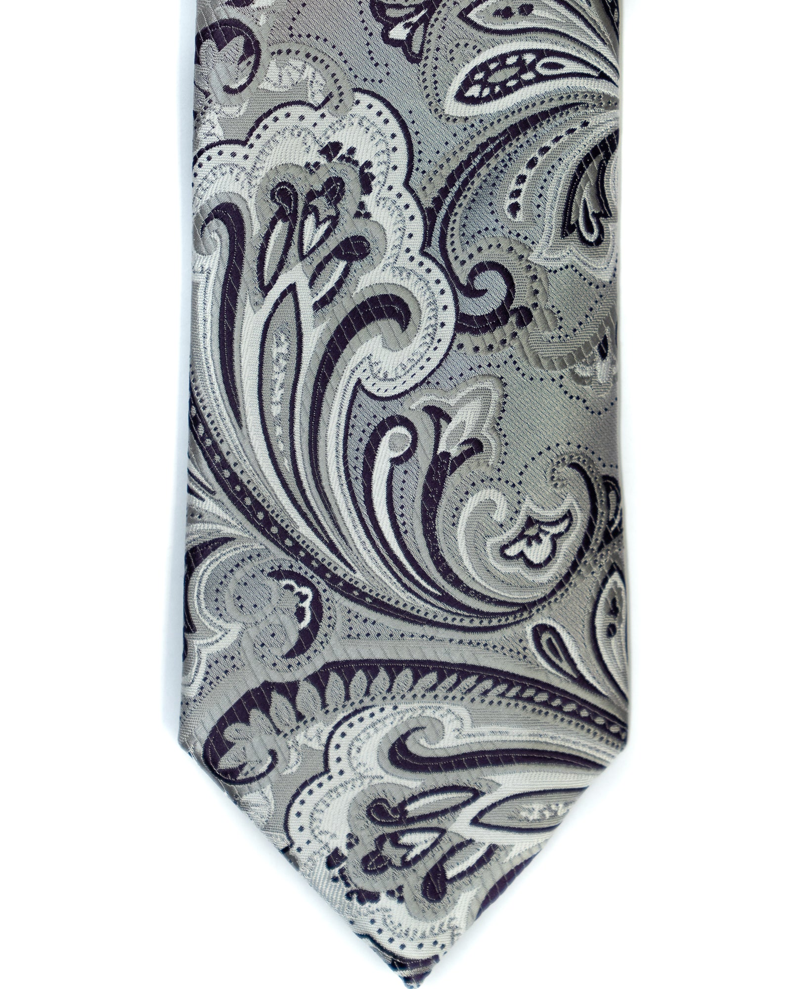 Venturi Uomo Exploded Paisley Tie in Silver with Purple - Rainwater's Men's Clothing and Tuxedo Rental