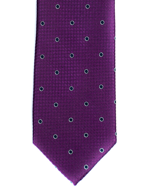 Silk Tie In Purple With Navy Dot Foulard Print - Rainwater's Men's Clothing and Tuxedo Rental