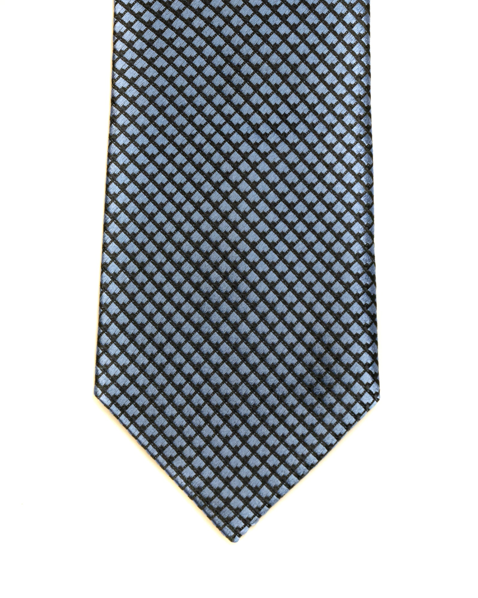 Silk Tie in Blue And Navy Neat Foulard Print - Rainwater's