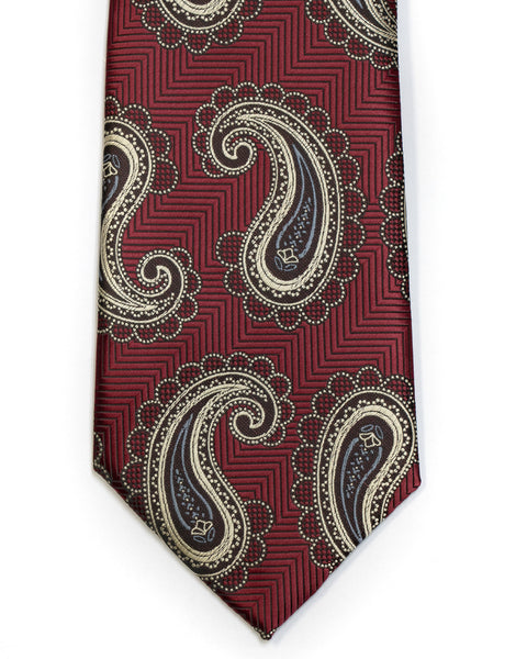 Herringbone Paisley Tie in Burgundy with Tan - Rainwater's Men's Clothing and Tuxedo Rental