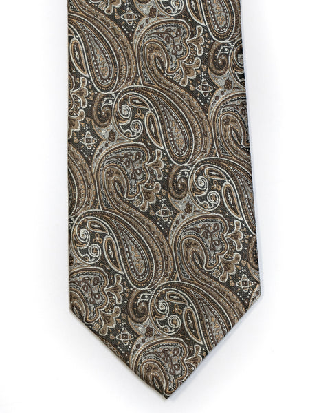 Gianfranco Paisley Tie in Brown with Grey - Rainwater's