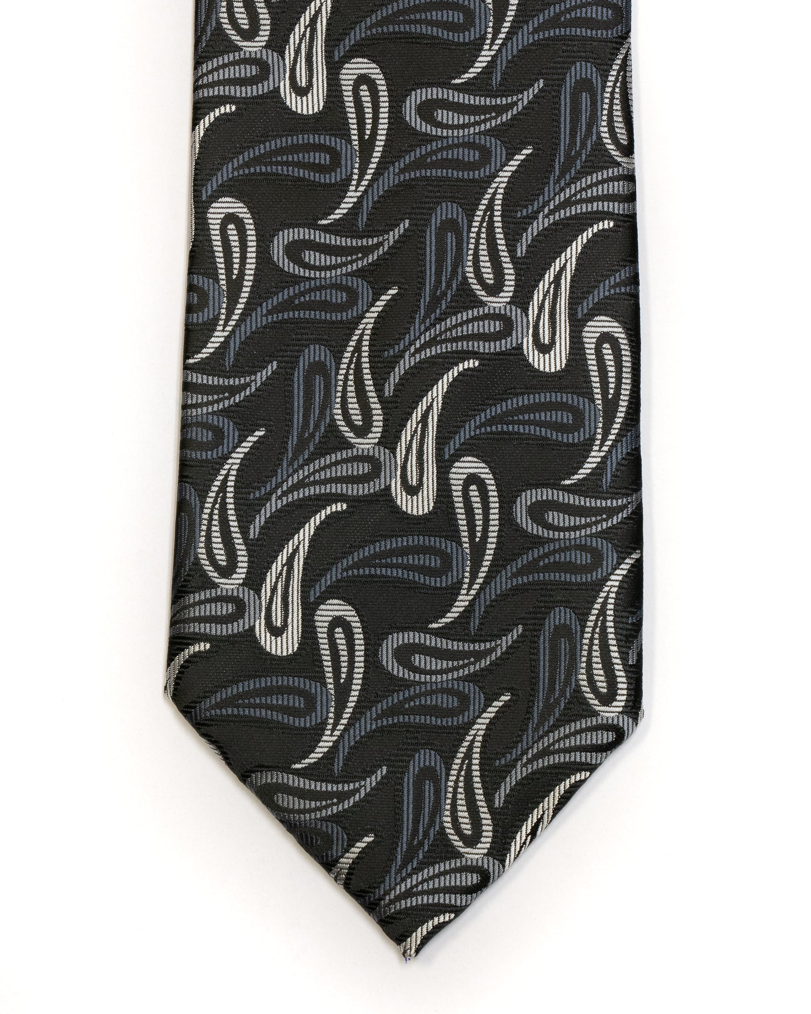 Gianfranco Paisley Tie in Black with Grey - Rainwater's Men's Clothing and Tuxedo Rental