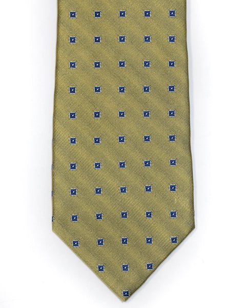 Silk Tie in Yellow And Blue Foulard Print - Rainwater's