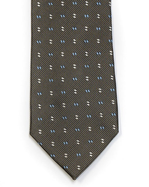 Silk Tie in Yellow With Black And Blue Foulard Print - Rainwater's Men's Clothing and Tuxedo Rental