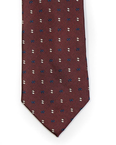 Silk Tie in Burgundy And Navy White Foulard Print - Rainwater's Men's Clothing and Tuxedo Rental