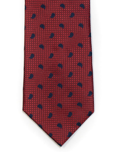 Silk Tie in Deep Red And Navy Foulard Print - Rainwater's