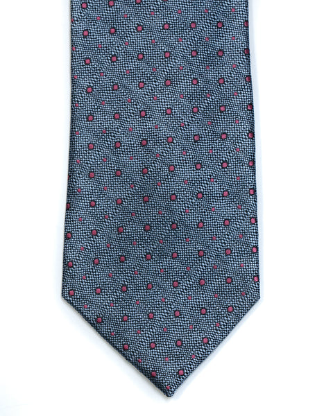 Silk Tie in Blue And Red Neat Foulard Print - Rainwater's Men's Clothing and Tuxedo Rental