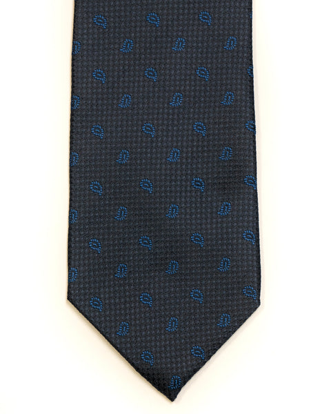 Silk Tie in Navy With Blue Foulard Print - Rainwater's