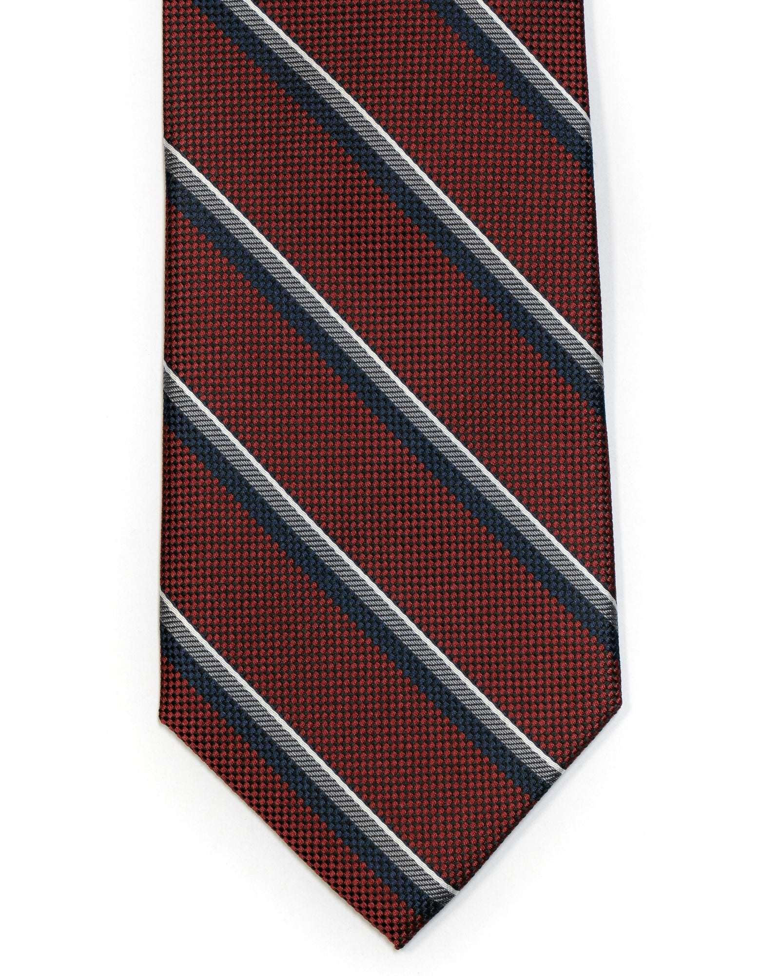 Silk Tie in Burgundy With Navy Stripe - Rainwater's Men's Clothing and Tuxedo Rental