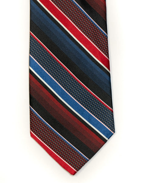 Silk Tie in Navy With Red Stripe - Rainwater's Men's Clothing and Tuxedo Rental