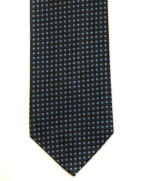 Silk Tie in Navy With Blue Neat Foulard Print - Rainwater's Men's Clothing and Tuxedo Rental