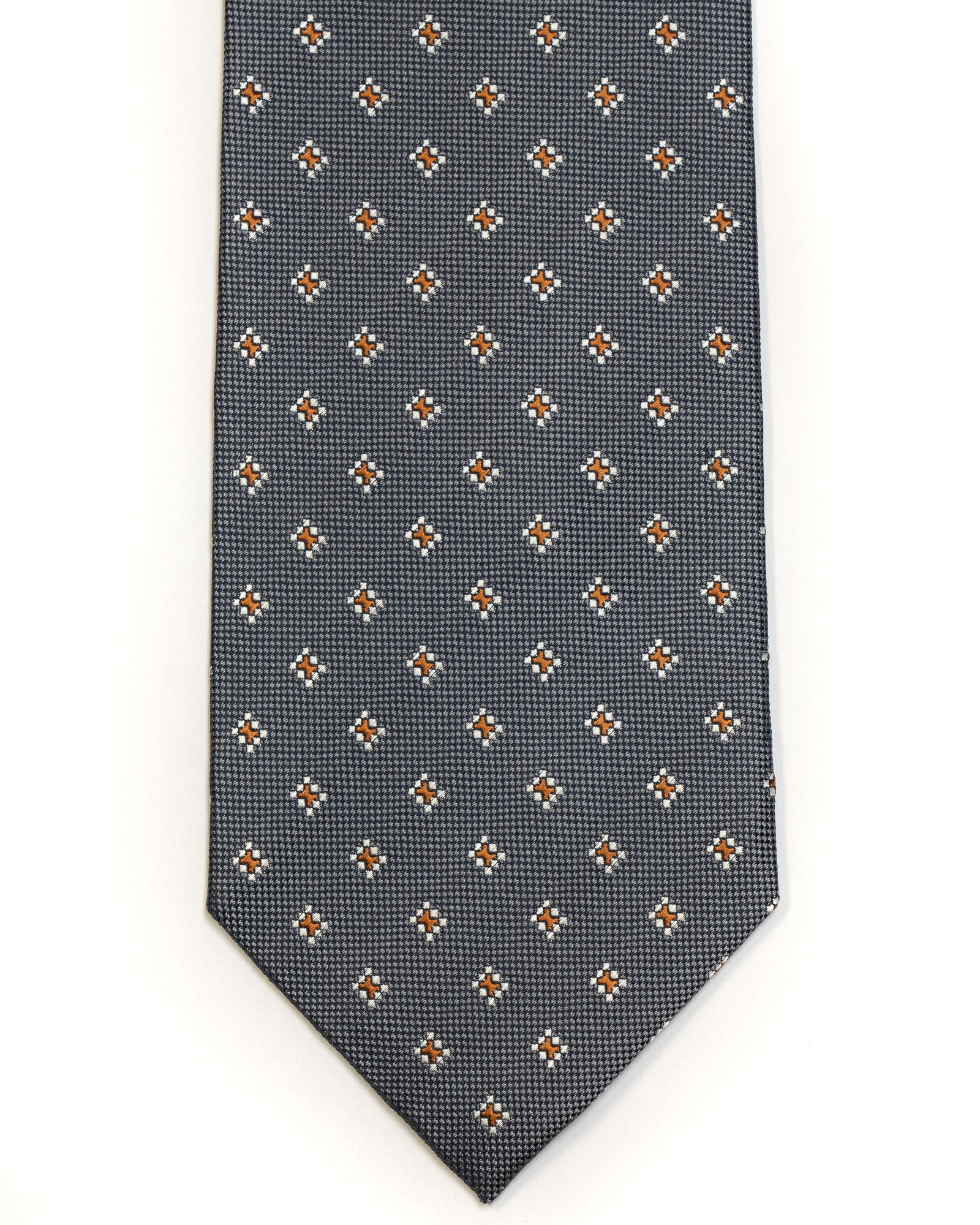 Silk Tie in Navy With White And Rust Foulard Print - Rainwater's Men's Clothing and Tuxedo Rental