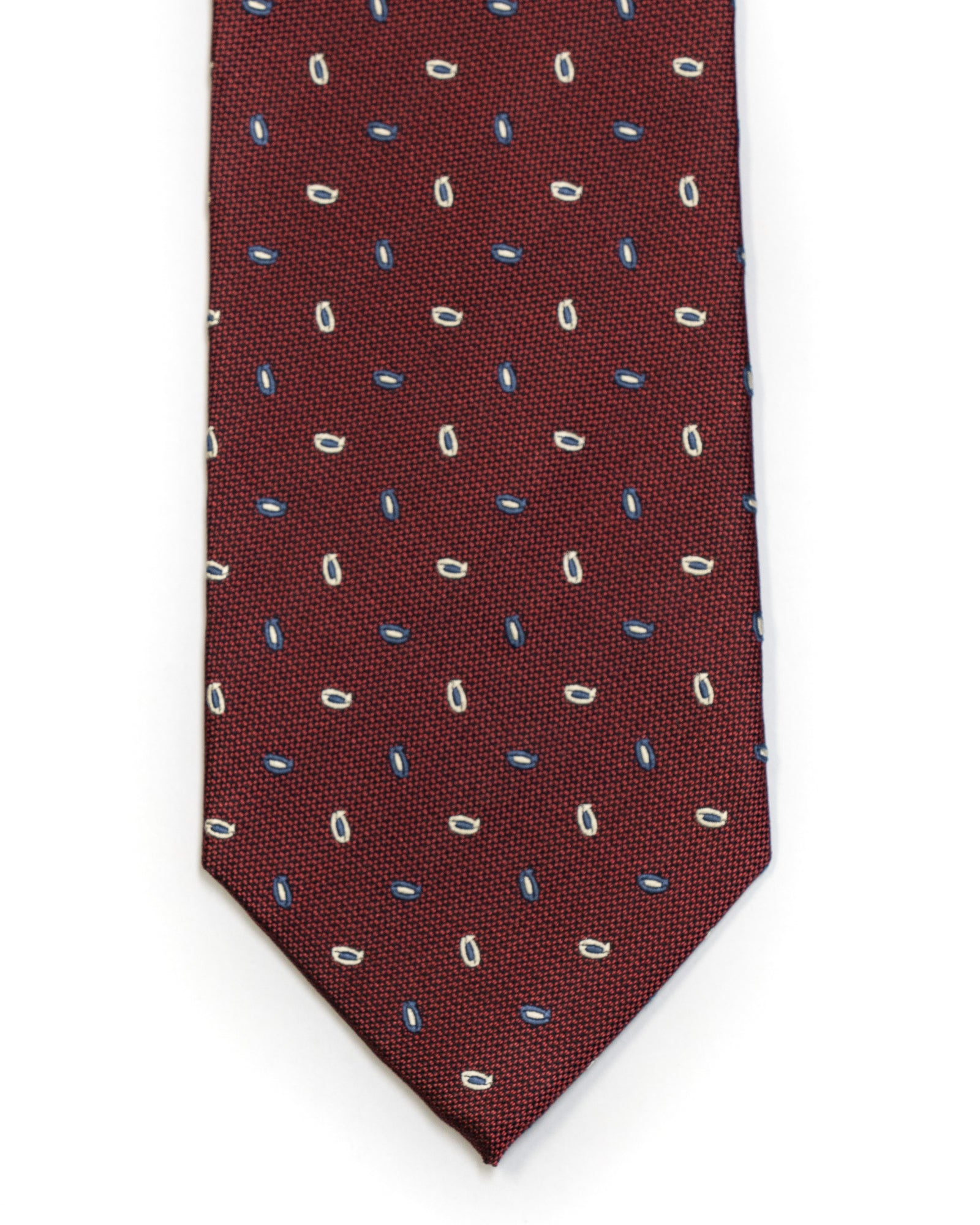 Silk Tie in Burgundy And Navy Foulard Print - Rainwater's Men's Clothing and Tuxedo Rental