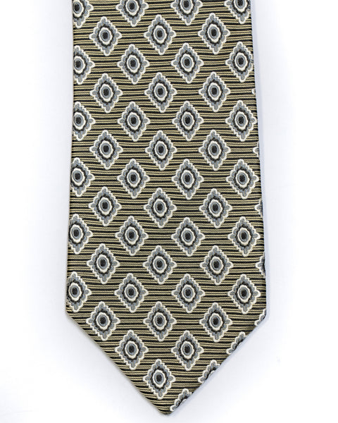 Silk Tie in Yellow With Navy Bold Foulard Print - Rainwater's Men's Clothing and Tuxedo Rental