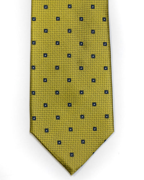Silk Tie in Yellow And Navy Foulard Print - Rainwater's Men's Clothing and Tuxedo Rental