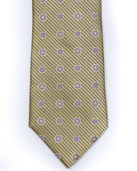 Silk Tie in Yellow With Lavender Foulard Print - Rainwater's