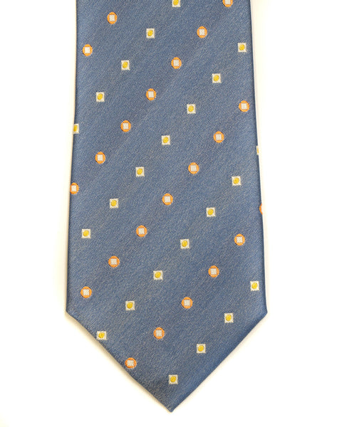 Silk Tie in Blue And Tan Foulard Print - Rainwater's