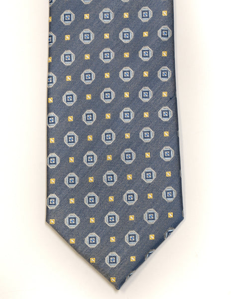 Silk Tie in Blue And Tan Foulard Print - Rainwater's Men's Clothing and Tuxedo Rental