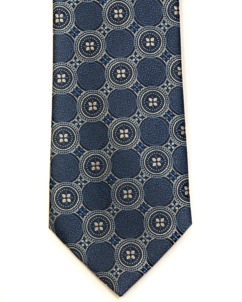 Silk Tie in Blue With Tan Foulard Print - Rainwater's