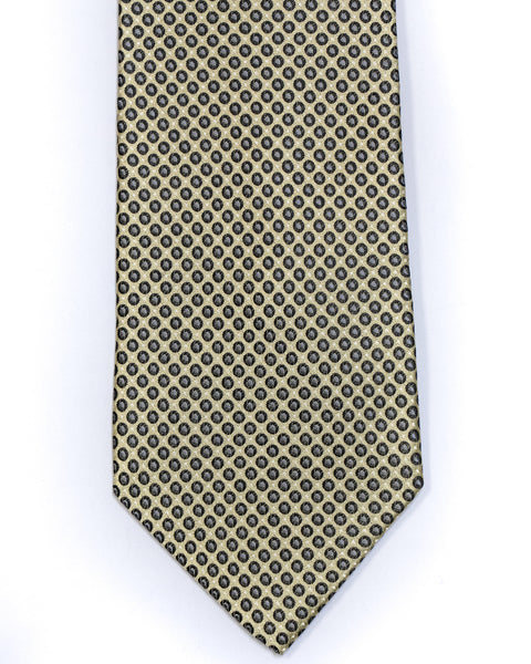 Silk Tie In Light Yellow With Black Small Circle Neat Foulard Design - Rainwater's Men's Clothing and Tuxedo Rental