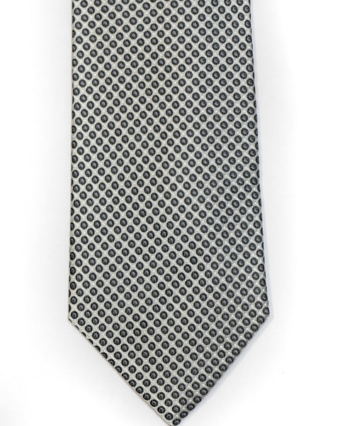 Silk Tie In Silver With Black Small Circle Neat Foulard Design - Rainwater's Men's Clothing and Tuxedo Rental