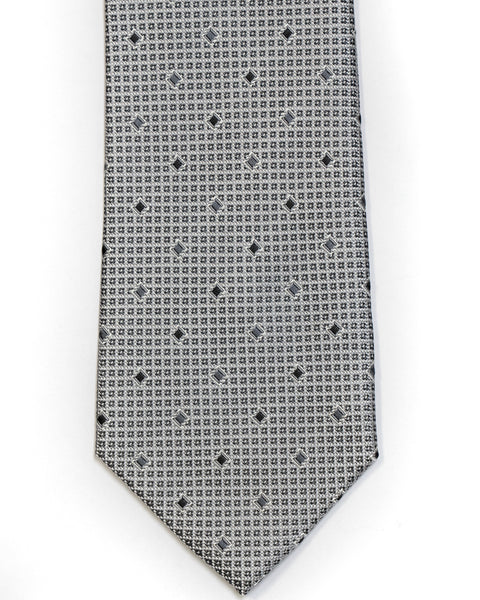 Silk Tie In Silver With Black Grid Foulard Design - Rainwater's