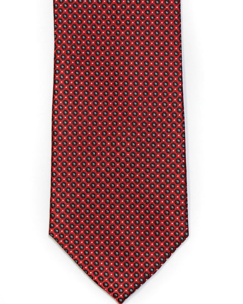 Silk Tie In Red With Black Small Circle Neat Foulard Design - Rainwater's Men's Clothing and Tuxedo Rental
