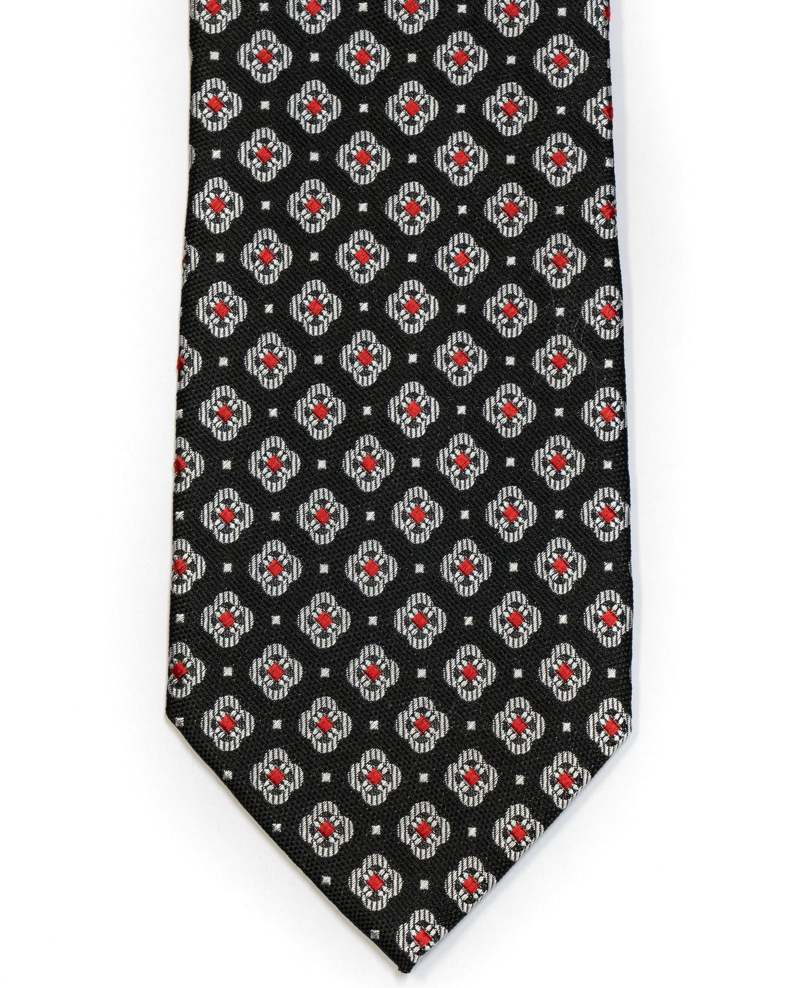 Silk Tie In Black With Grey & Red Foulard Design - Rainwater's Men's Clothing and Tuxedo Rental