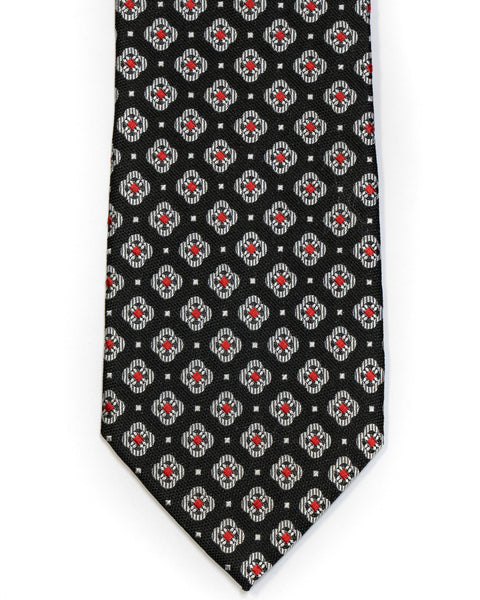 Silk Tie In Black With Grey & Red Foulard Design - Rainwater's