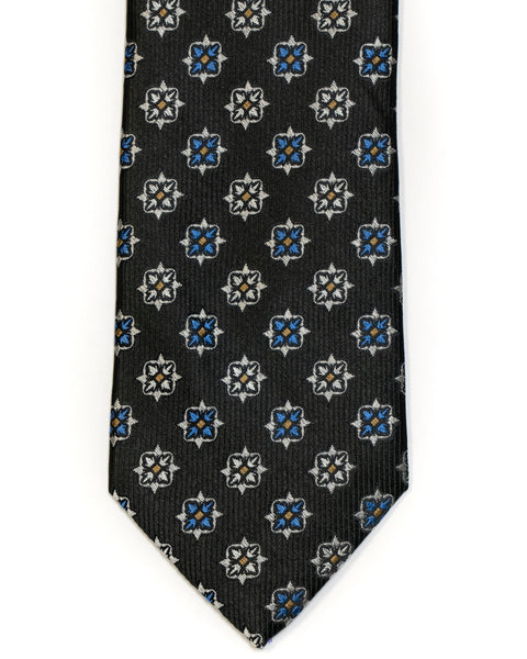 Silk Tie In Black With Blue & Champagne Foulard Design - Rainwater's Men's Clothing and Tuxedo Rental