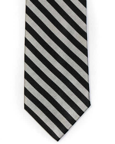 Silk Tie In Silver With Black Small Bar Stripe - Rainwater's Men's Clothing and Tuxedo Rental