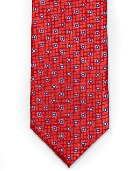 Silk Tie In Red With Blue Circle Foulard Design - Rainwater's Men's Clothing and Tuxedo Rental