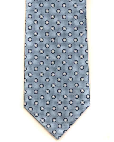 Silk Tie In Light Blue Circle Foulard Design - Rainwater's Men's Clothing and Tuxedo Rental