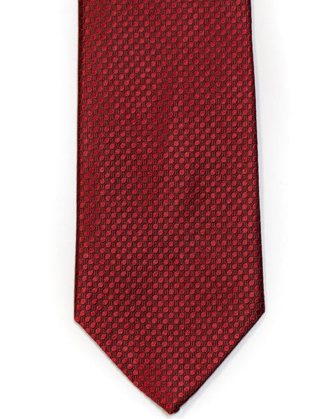 Silk Tie In Deep Red Circle Jacquard Design Solid - Rainwater's Men's Clothing and Tuxedo Rental