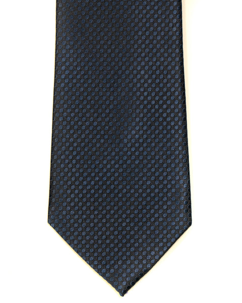 Silk Tie In Deep Blue Circle Jacquard Design Solid - Rainwater's Men's Clothing and Tuxedo Rental
